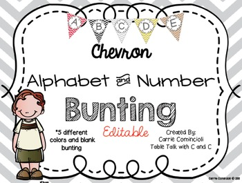 Editable Alphabet Bunting with Chevron Red, Black, Gray, G