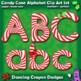 Alphabet Letters: Candy Cane Alphabet Letters Clipart