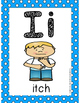 Alphabet Card Posters Teal and White Polka Dot