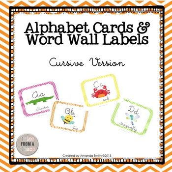 Alphabet Cards & Word Wall Labels: Cursive Line