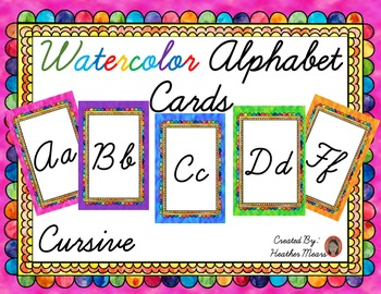 Alphabet Cards Cursive WaterColor