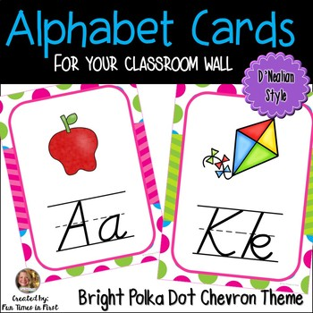 Alphabet Cards (D'Nealian) Bright Polka Dot and Chevron Theme