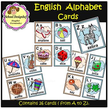 Alphabet Cards - English (School Design)