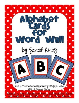 Alphabet Cards - Red and Navy