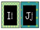Alphabet Cards: White on Black with Lime & Teal