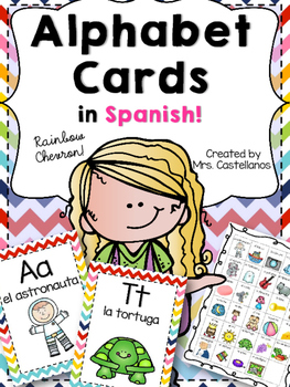 Alphabet Cards in Spanish-Rainbow Chevron
