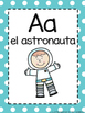 Alphabet Cards in Spanish- Turquoise Polka Dots