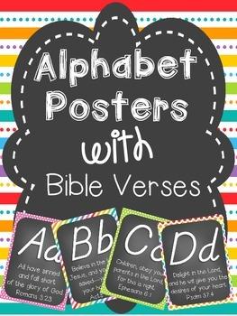 Alphabet Cards with Bible Verses (D'Nealian Font