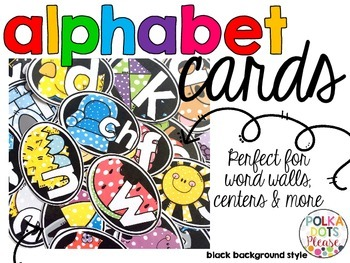 Alphabet Cards with Long Vowels and Digraphs (Black Backgr