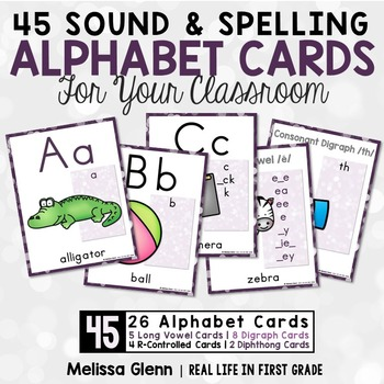 Alphabet Cards with Sounds Spellings (Purple)
