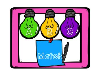 Alphabet Center Match Back to School Theme Post Its
