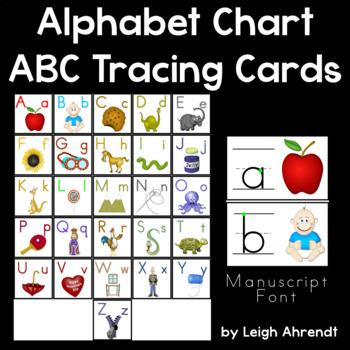 Alphabet Chart & ABC Tracing Cards (Manuscript Font)