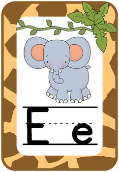 Alphabet Chart: Giraffe Print, Jungle Theme
