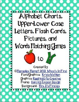 Alphabet Chart, Upper-Lower Case Letter, Picture, & Words