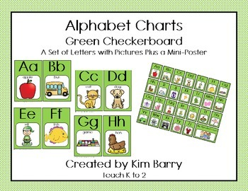 Alphabet Charts - Green Checkerboard