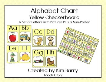 Alphabet Charts - Yellow Checkerboard