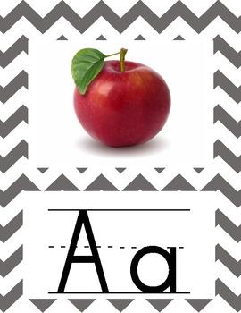 Alphabet Chevron Grey