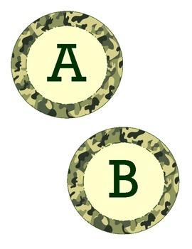 Alphabet Circles Camo Background