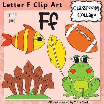 Alphabet Clip Art Letter F - Items start w F sound - Color