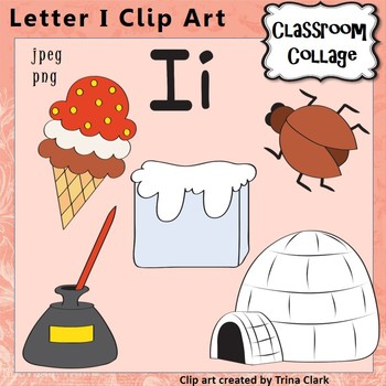 Alphabet Clip Art Letter I - Things start with I {Color} p