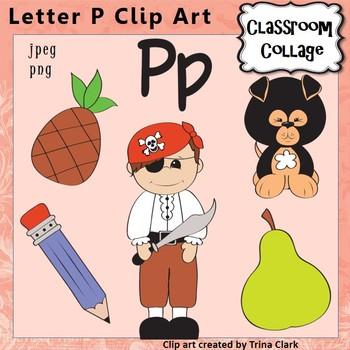Alphabet Clip Art Letter P - Items start with P - Color -