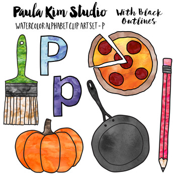 Alphabet Clip Art - Letter P Phonics Watercolor Clipart Set