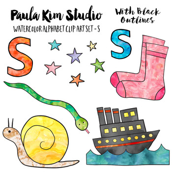Alphabet Clip Art - Letter S Phonics Watercolor Clipart Set