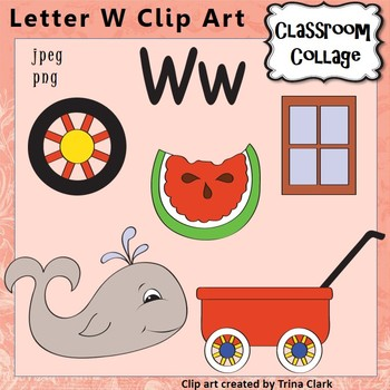 Alphabet Clip Art Letter W - Items start with W - Color pe