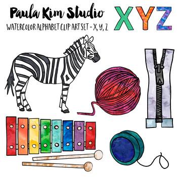 Letter X Y Z Clip Art Watercolor