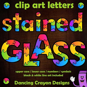 Alphabet Letters Clip Art with Stained Glass Effect