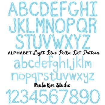 Alphabet Clip Art - Light Blue Polka Dots