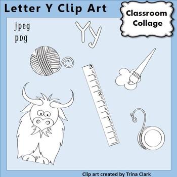 {Alphabet Clip Art Line Drawings} Items start w Letter Y {