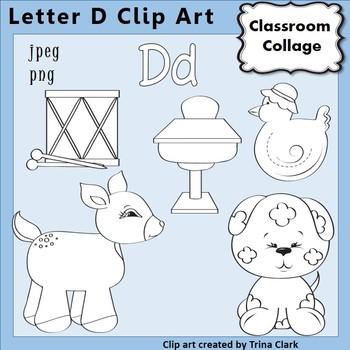 Alphabet Clip Art Letter D Line Drawings B&W pers/comm