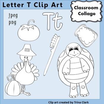 {Alphabet Clip Art Line Drawings} Items start w Letter T {