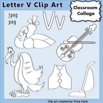 {Alphabet Clip Art Line Drawings} Items start w Letter V {