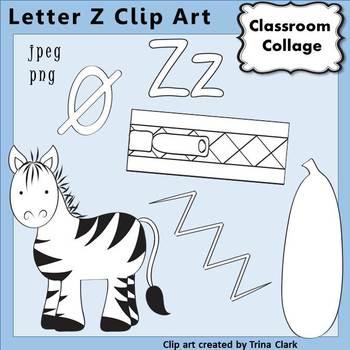 {Alphabet Clip Art Line Drawings} Items start w Letter Z {