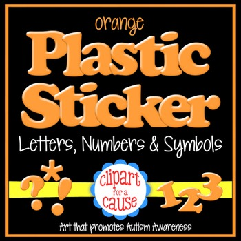 Alphabet Clip Art: Orange Plastic Sticker Letters Numbers