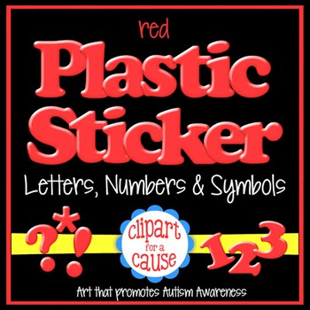 Alphabet Clip Art: Red Plastic Sticker Letters Numbers & S