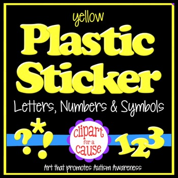 Alphabet Clip Art: Yellow Plastic Sticker Letters Numbers
