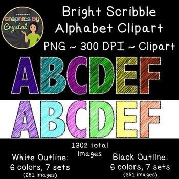 Alphabet Clipart - Bright Scribble Bundle