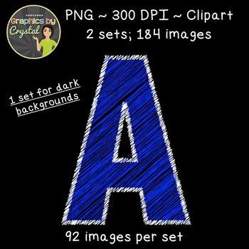 Alphabet Scribble Clipart - Blue