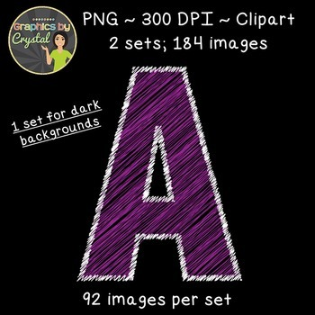 Alphabet Scribble Clipart - Purple