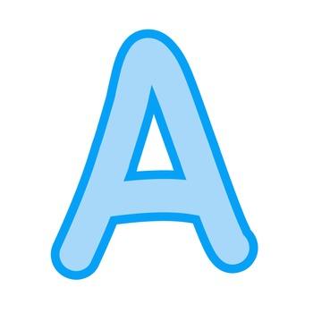 Alphabet Clipart - Baby Blue with Blue Trim
