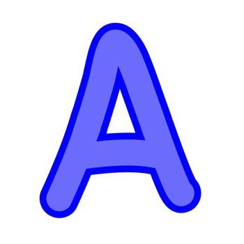 Alphabet Clipart - Blue with Blue Trim