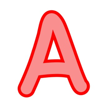 Alphabet Clipart - Red with Red Trim