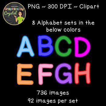 Simple Alphabet Clipart - Multi Color