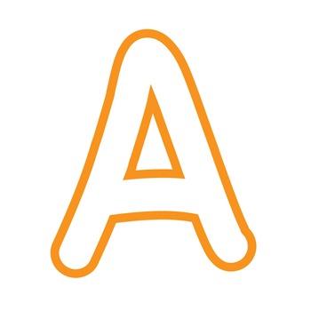 Alphabet Clipart - White with Orange Trim