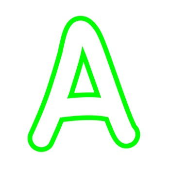 Alphabet Clipart - White with Bright Green Trim