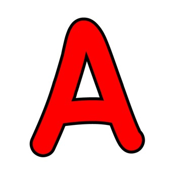 Simple Alphabet Clipart - Red with Black Outline