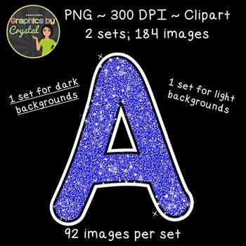 Alphabet Glitter Clipart - Blue